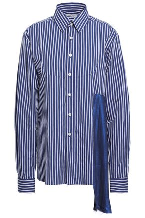 EACH X OTHER Pleated satin-paneled striped cotton-poplin shirt