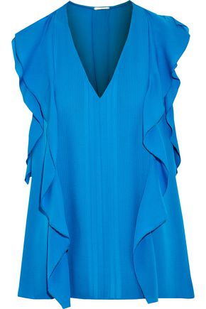 ELIE TAHARI Dovie ruffle-trimmed pintucked silk top