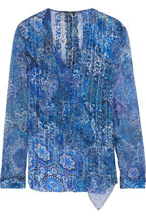 ELIE TAHARI Zona ruffle-trimmed printed silk-chiffon blouse