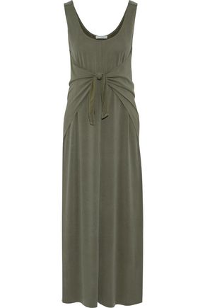 VINCE. Tie-front modal-blend jersey midi dress