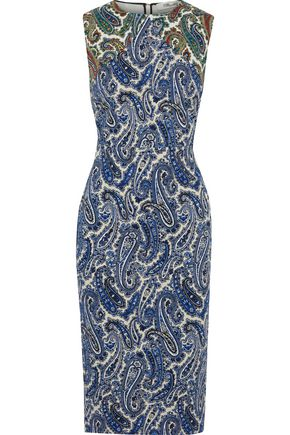 DIANE VON FURSTENBERG Printed stretch-cotton twill midi dress