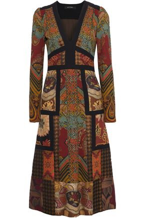 ETRO Crepe-trimmed patchwork jacquard midi dress