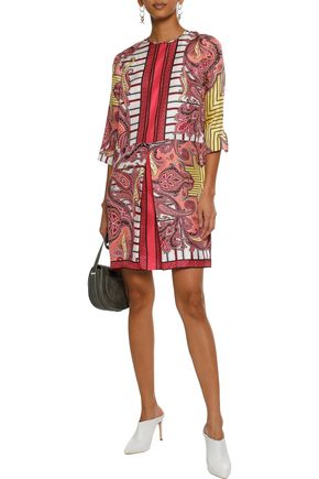 ETRO Pleated printed silk-faille mini dress