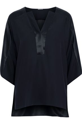 ELIE TAHARI Nolia silk-satin and crepe de chine blouse