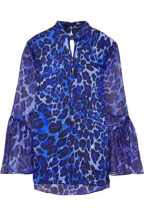 ELIE TAHARI Laraib chiffon-paneled leopard-print silk-satin blouse