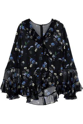 ELIE TAHARI Ruffled floral-print silk-chiffon blouse