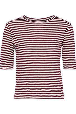 VINCE. Striped silk-blend jersey T-shirt