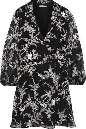 ALICE + OLIVIA Gaston fil coupé silk-blend chiffon mini wrap dress