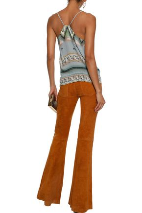ETRO Embellished pintucked printed silk and cotton-blend gauze camisole