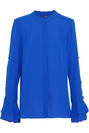 ELIE TAHARI Button-detailed silk-crepe blouse