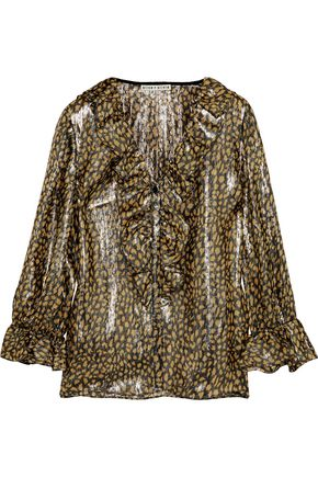 ALICE + OLIVIA Elliot ruffle-trimmed leopard-print silk-blend lamé blouse