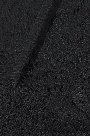 VICTORIA BECKHAM Lace-paneled crepe dress