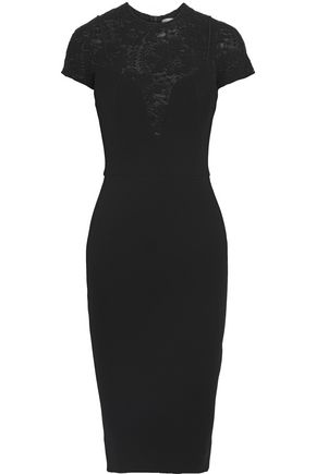 VICTORIA BECKHAM Lace-paneled crepe dress