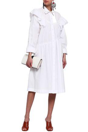 98c351ea6f86a SIMONE ROCHA Embellished cape-effect cotton-poplin shirt dress