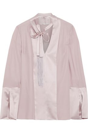 ELIE TAHARI Maverick fringed pussy-bow satin-paneled washed-silk blouse