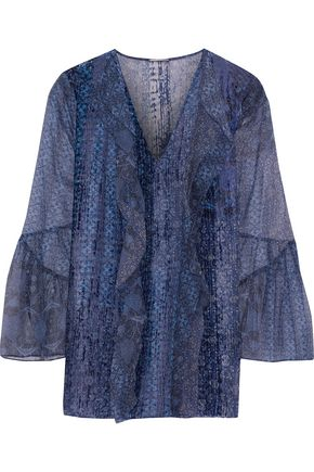 ELIE TAHARI Beverly printed flocked silk-chiffon blouse