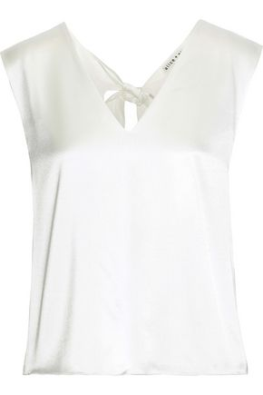 ALICE + OLIVIA Fleta tie-back satin top
