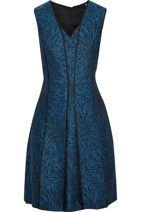 ELIE TAHARI Tameeka silk satin-trimmed pleated metallic jacquard dress