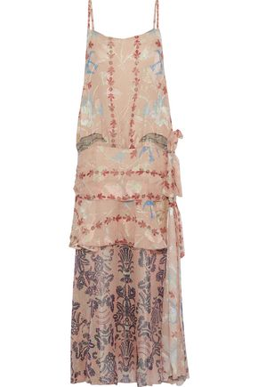 ANNA SUI Layered printed fil coupé silk-blend midi dress