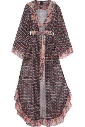 ANNA SUI Metallic ruffle-trimmed printed silk-chiffon kimono