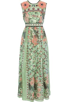 ANNA SUI Embellished pleated printed fil coupé silk-blend maxi dress