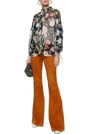 ALICE + OLIVIA Julius floral-print silk-chiffon blouse