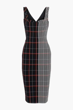 VICTORIA BECKHAM Checked jacquard dress