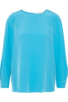 DIANE VON FURSTENBERG Pleated washed-silk blouse