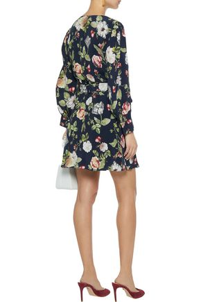 ALICE + OLIVIA Hannah floral-print sateen mini wrap dress