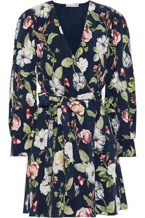 ALICE + OLIVIA Hannah floral-print sateen mini wrap dress