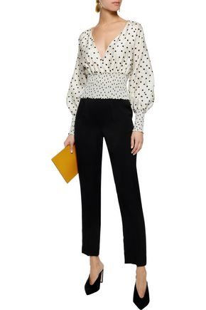 DIANE VON FURSTENBERG Cape-effect shirred polka-dot silk crepe de chine blouse