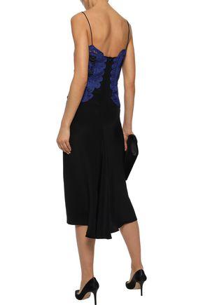 VICTORIA BECKHAM Guipure lace-paneled silk crepe de chine midi slip dress