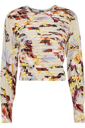 DIANE VON FURSTENBERG Cropped pintucked floral-print silk crepe de chine blouse