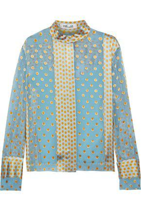 DIANE VON FURSTENBERG Polka-dot satin-paneled chiffon blouse