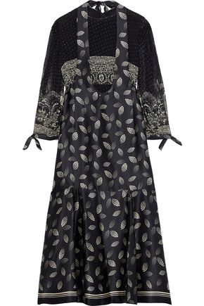 ANNA SUI Layered printed fil coupé chiffon and silk-satin midi dress