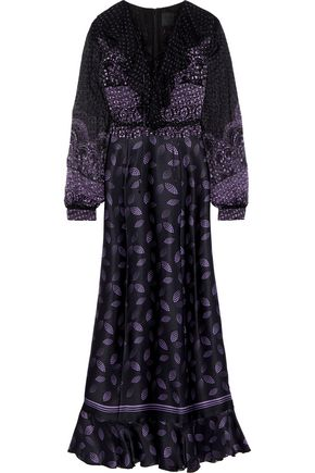 ANNA SUI Lace-up printed fil coupé chiffon and silk-blend satin maxi dress