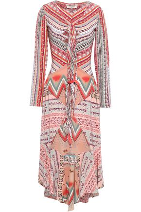 ETRO Cutout printed silk crepe de chine midi dress