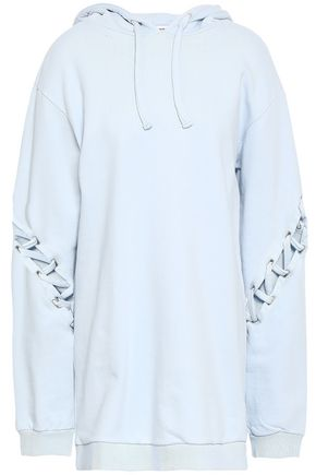 EACH X OTHER Lace-up French cotton-terry hooded sweatshirt