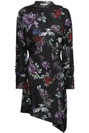 EACH X OTHER Asymmetric printed silk-twill mini dress