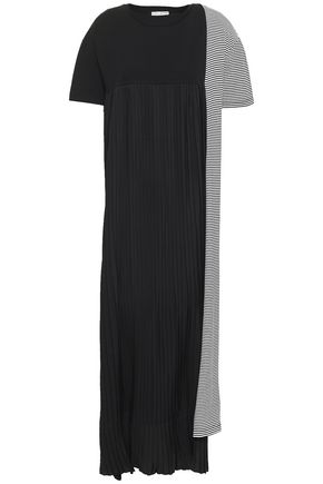 EACH X OTHER Pleated crepe and striped cotton-jersey maxi dress