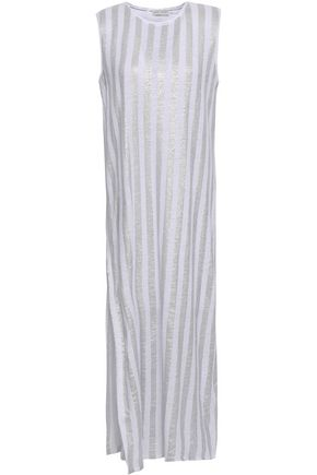 EACH X OTHER Metallic striped linen midi dress