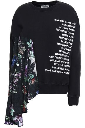 EACH X OTHER Draped silk-paneled embroidered French cotton-terry sweatshirt
