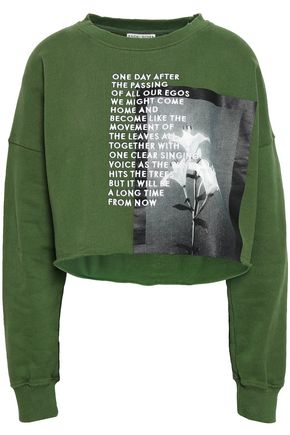 EACH X OTHER Cropped embroidered printed French cotton-terry sweatshirt
