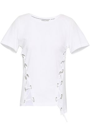EACH X OTHER Lace-up cotton-jersey T-shirt