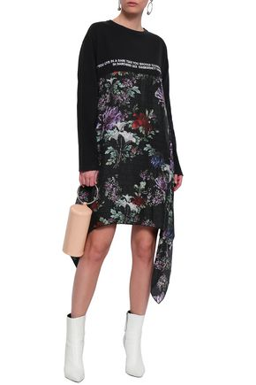 EACH X OTHER Draped silk-paneled embroidered cotton-jersey mini dress