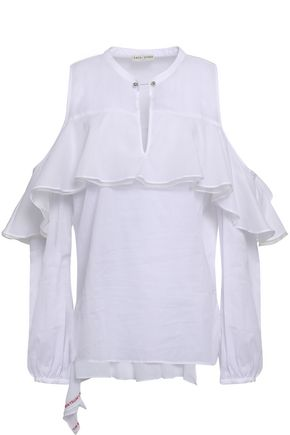 EACH X OTHER Cold-shoulder ruffled striped cotton-voile blouse