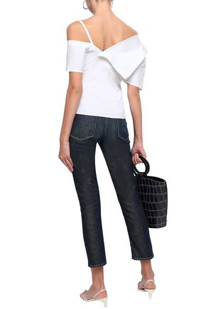 THEORY One-shoulder cotton-blend poplin top