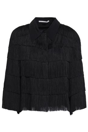 STELLA McCARTNEY Fringed silk crepe de chine shirt