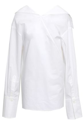 JOSEPH Bow-detailed cotton-poplin top