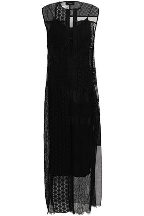 JOSEPH Paneled broderie anglaise and organza maxi dress